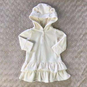 Baby Gap Hooded Dress Bear Ears Cream Velour 3-6M